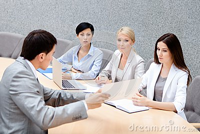 CEO holds a business meeting