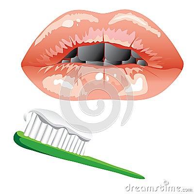 Cepillo de dientes. boca con los dientes enfermos