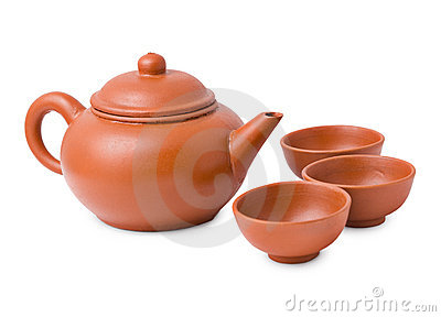 Ceramic ancient oriental teapot and cups