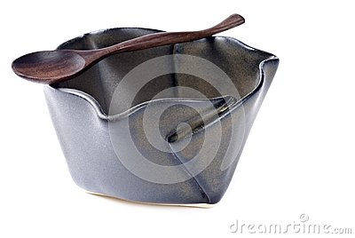 Ceramic Bowl with Wooden Spoon