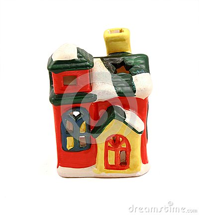 Ceramic candlestick multi-colored small house