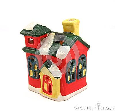 Ceramic candlestick multi-colored small house
