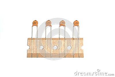 Ceramic capacitors.