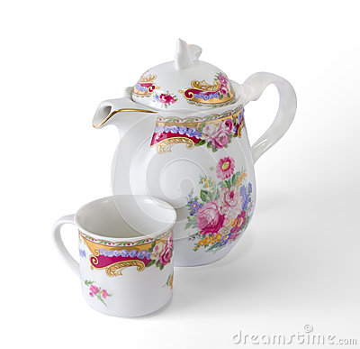 Free Ceramic Coffee Pot And Cup Royalty Free Stock Image - 28127176