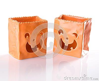 Ceramic Jack O Lantern Trick Or Treat Bags For Hal