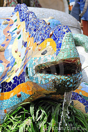 Ceramic mosaics decorated lizard - Guell Park