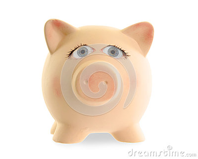 Ceramic piggy bank with human eyes