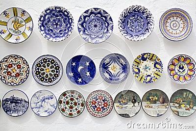 Ceramic plates crafts Mediterranean Ibiza
