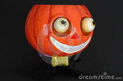 Ceramic pumpkin with bow tie