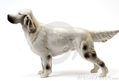 Ceramic statue english setter pedigree dog