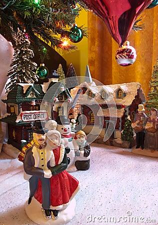 Ceramic town under christmas tree