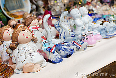 Ceramic toys on city market