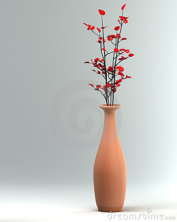 Ceramic vase with a flower