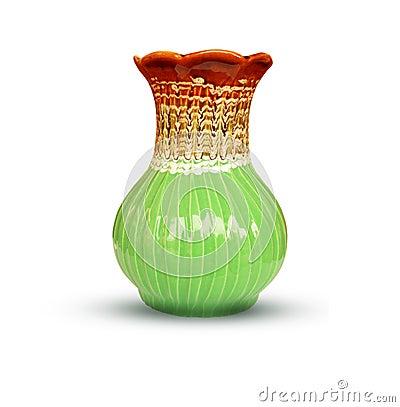 Free Ceramic Vase, Green Vase Isolated On White Background Stock Images - 105031894