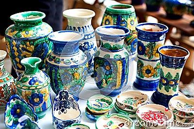 Ceramic vase and trays