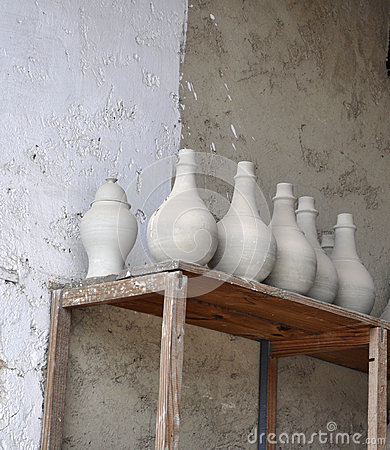 CERAMIC VASES ON THE SHEVES