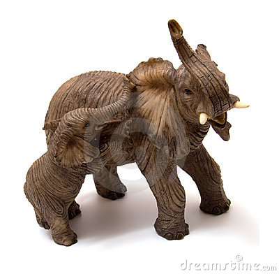 Ceramics elephant with elephant calf