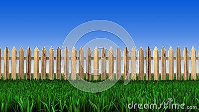 Cerca de madeira e grama verde