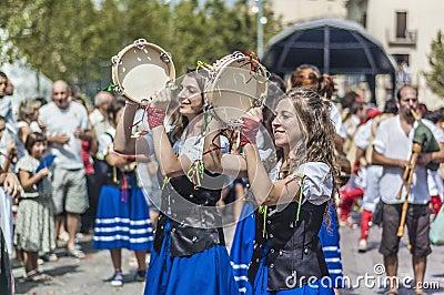 Cercavila within Vilafranca Festa Major Editorial Stock Image