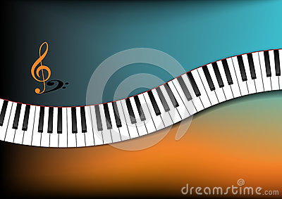 Cerceta e fundo alaranjado teclado de piano curvado