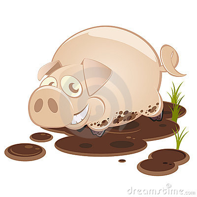 Cerdo de la historieta en la sonrisa del fango