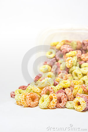 Cereal loops closeup on white background