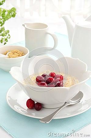 Cereale dei fiocchi di frumento con i mirtilli rossi