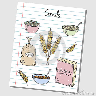 Cereals doodles - lined paper