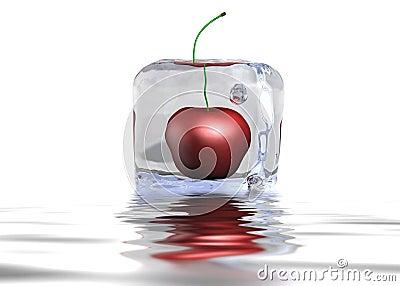 Cereja Icecube na água
