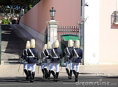 Ceremonial changing guard in Belem, Lisbon Editorial Image