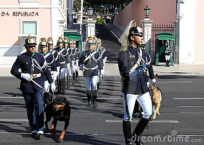 Ceremonial changing guard in Lisbon, Portugal Editorial Image