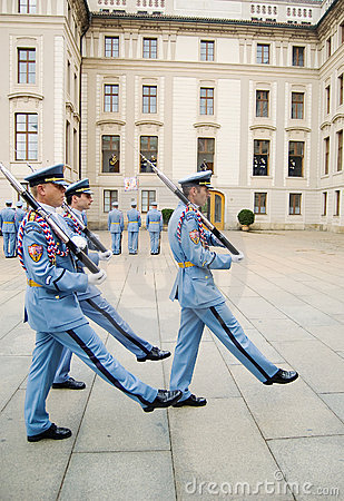 Ceremonial changing of the Guards at Prague Castle Editorial Photo