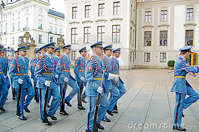 Ceremonial changing of the Guards at Prague Castle Editorial Stock Image