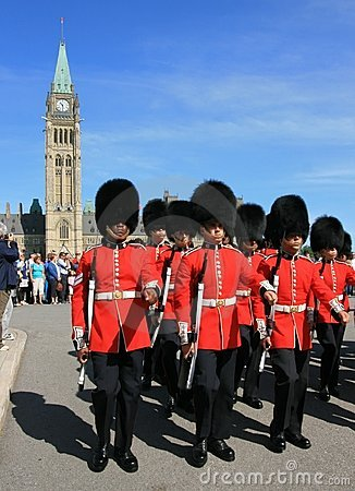Ceremonial Guards Marching from Peace Tower Editorial Photo