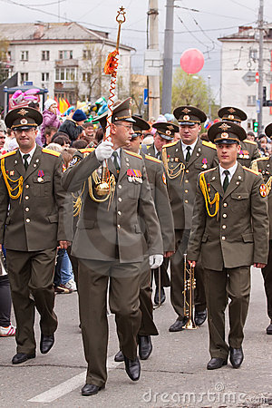 Ceremonial parade at Vladimir Editorial Stock Image