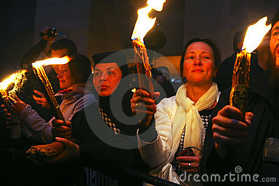 Ceremony of Holy Fire miracle Editorial Stock Image
