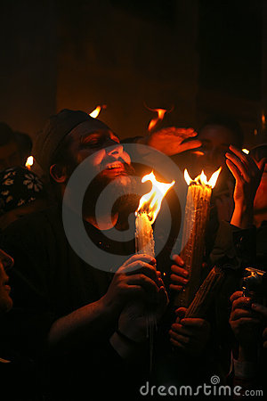 Ceremony of Holy Fire miracle Editorial Photography
