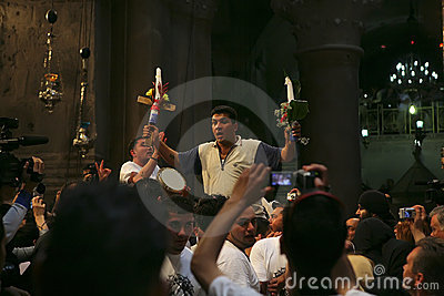 Ceremony of Holy Fire miracle Editorial Stock Photo