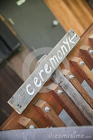 Ceremony sign on gate