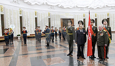 Ceremony of transfer of the Victory Banner Editorial Stock Photo