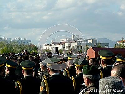 Cerimónia de funeral de Rauf Denktas Fotografia Editorial