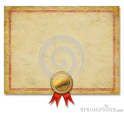 Certificado velho em branco do grunge com uma crista do ouro e fita ...