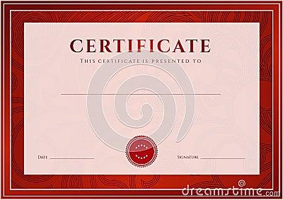 Certificado rojo, plantilla del diploma. Modelo del premio