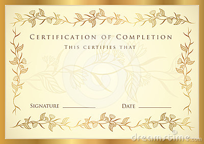 Certificate / Diploma Award Template. Pattern Royalty Free ...