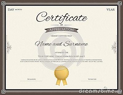 Certificate Of Appreciation Template Stock Vector - Image: 82040619