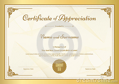 Certificate of appreciation template with gold border vector certificate of appreciation template with gold border vector illustration yelopaper Gallery