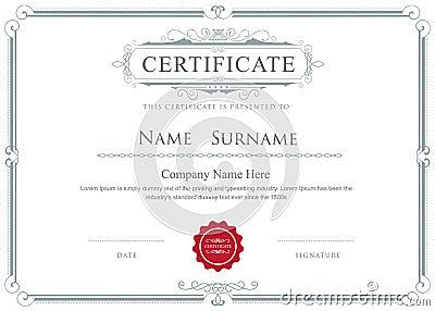 Certificate border vector elegant flourishes template Vector Illustration