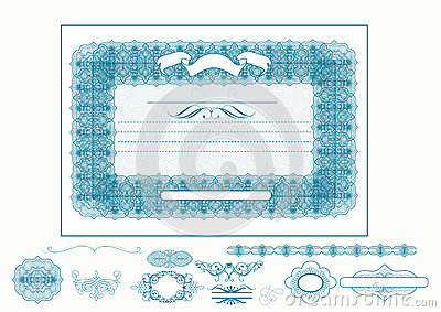 Certificate or coupon for design in blue color