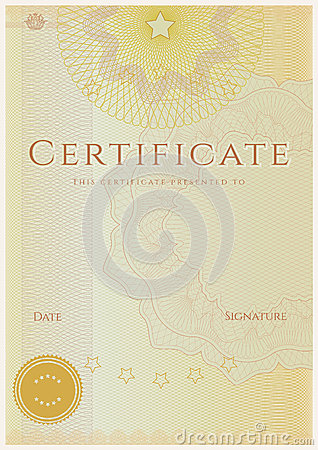 Free Certificate / Diploma Award Template. Pattern Royalty Free Stock Photo - 28587055