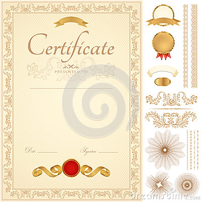 Free Certificate / Diploma Background. Golden Border Royalty Free Stock Image - 30649746